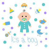 Baby boy shower card with bottle, horse, rattle, pacifier, sock, car toy, baby carriage iconset. Its a boy. Cartoon character. Whi Royalty Free Stock Images
