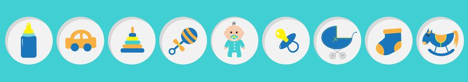 Baby boy shower card with bottle, horse, rattle, pacifier, sock, car toy, baby carriage, pyramid. Its a boy. Round icon set line. Blue background. Flat design royalty free illustration