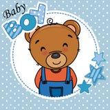 Baby boy shower card. Cute bear stock illustration