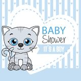Baby boy shower card. Cute cat with heart and space for text Royalty Free Stock Images
