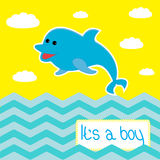 Baby boy shower card with cute dolphin Stock Images