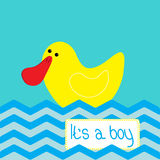Baby boy shower card with cute duck Stock Photos