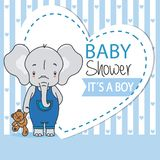 Baby boy shower card. Cute elephant with teddy stock illustration