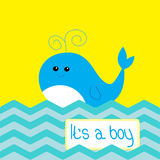 Baby boy shower card with cute whale Stock Photo