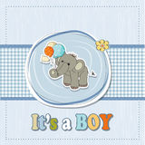 Baby boy shower card with elephant Stock Photography