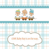 Baby boy shower card Stock Images