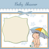 Baby boy shower card with funny baby Royalty Free Stock Photos
