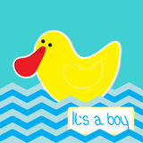 Baby boy shower card with funny duck. Royalty Free Stock Photography