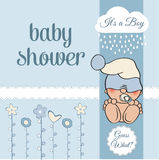 Baby boy shower card with funny little baby Stock Images