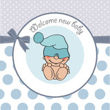 Baby boy shower card with funny little baby Royalty Free Stock Image
