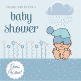 Baby boy shower card with funny little baby Stock Image