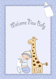 Baby boy shower card with giraffe toy Stock Photo