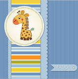 Baby boy shower card with giraffe toy Stock Photography