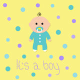 Baby boy shower card. Its a boy. Yellow background with colorful circle dot. Flat design style. Royalty Free Stock Photography