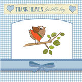 Baby boy shower card with little bird. Stand in the rain stock illustration
