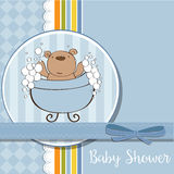 Baby boy shower card with little  teddy bear Royalty Free Stock Photo