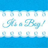 Baby boy shower card with Photorealistic blue ribbon frame for your text Royalty Free Stock Photos