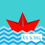 Baby boy shower card with red paper boat. Royalty Free Stock Photos