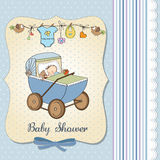 Baby boy shower card with retro strolller Royalty Free Stock Images