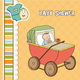 Baby boy shower card with retro strolller Stock Images