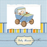 Baby boy shower card with retro strolller Royalty Free Stock Photo