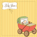 Baby boy shower card with retro strolller Stock Photos