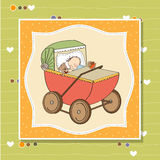 Baby boy shower card with retro strolller Royalty Free Stock Photography