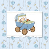 Baby boy shower card with retro strolller Royalty Free Stock Image