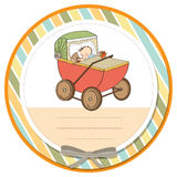 Baby boy shower card with retro strolller Stock Photography