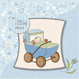 Baby boy shower card with retro strolller Royalty Free Stock Photos