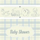 Baby boy shower card with retro toys. Vector illustration Stock Image