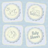 Baby boy shower card with retro toys Royalty Free Stock Photos