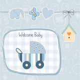 Baby boy shower card with stroller Stock Images
