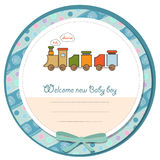 Baby boy shower card with toy train Royalty Free Stock Photos