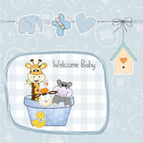 Baby boy shower card with toys. Illustration in vector format Royalty Free Stock Photo