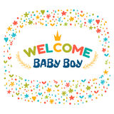 Baby boy shower card. Welcome baby boy. Baby boy arrival postcar Royalty Free Stock Photos
