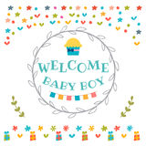 Baby boy shower card. Welcome baby boy. Baby boy arrival postcar Royalty Free Stock Photography
