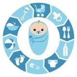 Baby boy shower cartoon design Stock Images