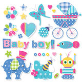 Baby boy shower collection Royalty Free Stock Images
