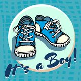 Baby boy shower congratulations vector postcard. Baby announcement in blue. It`s a boy with children shoes in circle. royalty free illustration