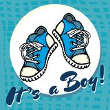 Baby boy shower congratulations vector postcard. Baby announcement in blue. It`s a boy with children shoes in circle. vector illustration