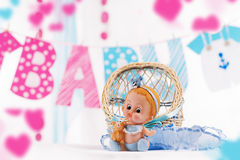 Baby boy shower decor in blue and pink elements. Over white Royalty Free Stock Photo