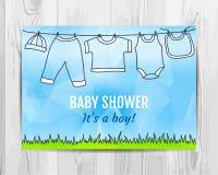Baby boy shower invitation card. Stock Photo