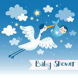 Baby boy shower invitation card with stork. Royalty Free Stock Image