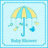 Baby boy shower invitation. Cute baby boy shower invitation in blue colors royalty free illustration