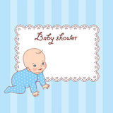 Baby boy shower. Pretty vintage baby shower card for boy Stock Photography