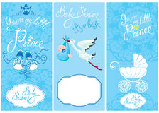 Baby boy Shower Set. Party Decoration, Scrapbook, invitation ca Royalty Free Stock Images