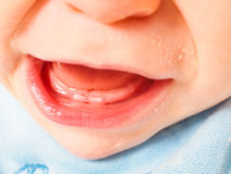 Baby boy showing first teeth open mouth Royalty Free Stock Photos