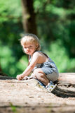 Baby boy sit in camp Royalty Free Stock Images