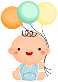 Baby Boy Sit Holding Balloon Royalty Free Stock Photography